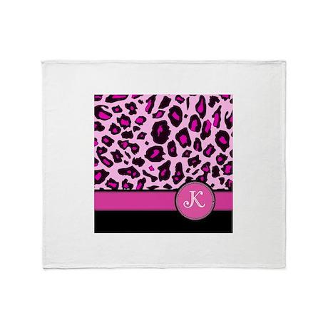 Pink Leopard Letter K monogram Throw Blanket