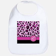 Pink Leopard Letter L monogram Bib