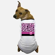 Pink Leopard Letter M monogram Dog T-Shirt