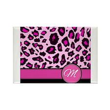 Pink Leopard Letter M monogram Magnets