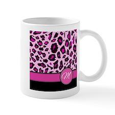 Pink Leopard Letter M monogram Mugs