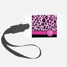Pink Leopard Letter M monogram Luggage Tag