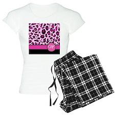 Pink Leopard Letter M monogram Pajamas