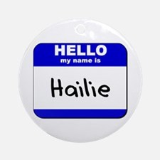 hello my name is hailie  Ornament (Round)