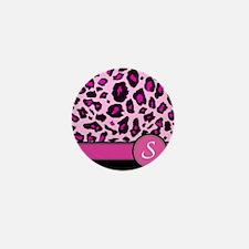 Pink Leopard Letter S monogram Mini Button
