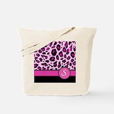 Pink Leopard Letter S monogram Tote Bag