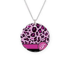 Pink Leopard Letter T monogram Necklace