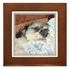 Cuddly Yorki-Poo Mix Framed Tile