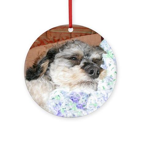 Cuddly Yorki-Poo Mix Ornament (Round)
