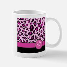 Pink Leopard Letter Y monogram Mugs