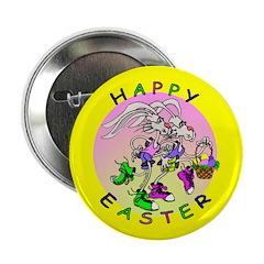 Happy Easter Cartoon Rabbits Button