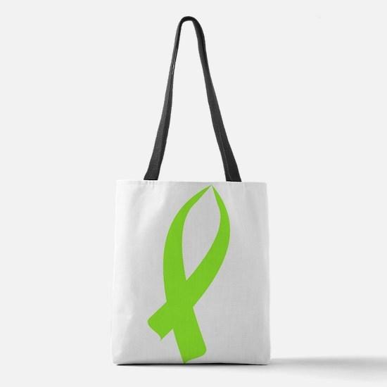 Awareness Ribbon (Lime Green) Polyester Tote Bag