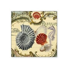 "vintage colorful seashells  Square Sticker 3"" x 3"""