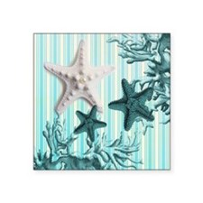 "modern blue seashells nauti Square Sticker 3"" x 3"""