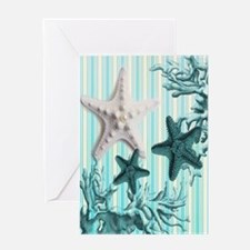 modern blue seashells nautical beach Greeting Card