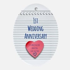 1st Wedding Anniversary Ornament (Oval)