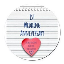 1st Wedding Anniversary Round Car Magnet