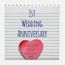 1st Wedding Anniversary Tile Coaster