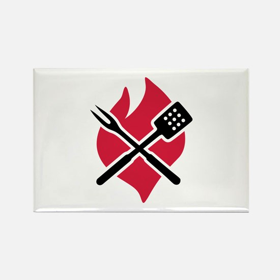 BBQ barbecue Fire Rectangle Magnet