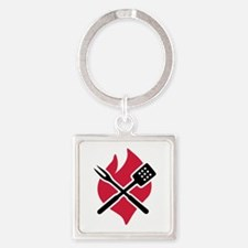 BBQ barbecue Fire Square Keychain