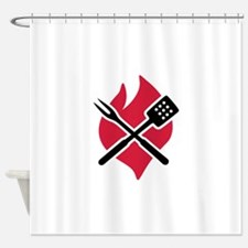 BBQ barbecue Fire Shower Curtain