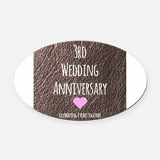 3rd Wedding Anniversary Oval Car Magnet
