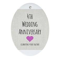 4th Wedding Anniversary Ornament (Oval)
