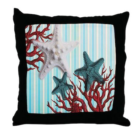 Modern Beach Pillow : modern seashells coral nautical beach Throw Pillow by listing-store-30702168