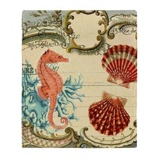 chic seahorse seashells nautical bea Throw Blanket