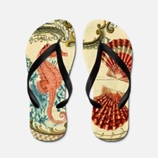 chic seahorse seashells nautical beach Flip Flops