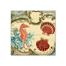 "chic seahorse seashells nau Square Sticker 3"" x 3"""