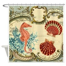 chic seahorse seashells nautical be Shower Curtain
