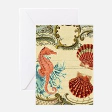 chic seahorse seashells nautical bea Greeting Card