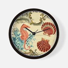 chic seahorse seashells nautical beach Wall Clock