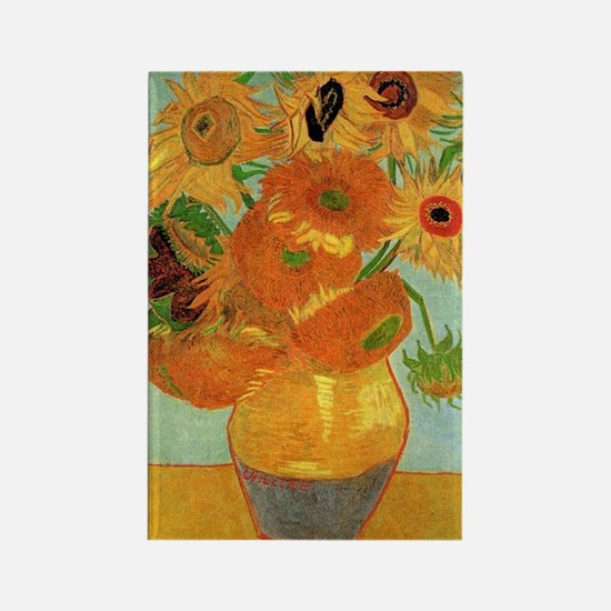Vase with twelve Sunflowers, Vinc Rectangle Magnet