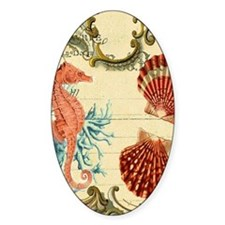 ocean seahorse seashells nautical b Decal