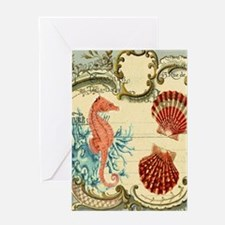 ocean seahorse seashells nautical be Greeting Card