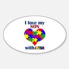 I love my son with Autism Oval Decal
