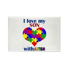 I love my son with Autism Rectangle Magnet (100 pa