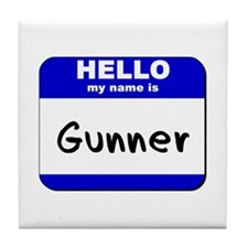 hello my name is gunner  Tile Coaster