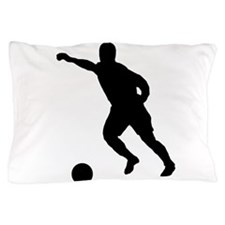 Soccer Player Silhouette Pillow Case
