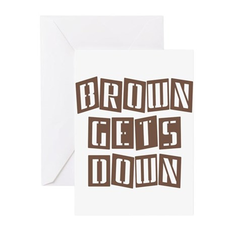 BROWN GETS DOWN Greeting Cards (Pk of 10)