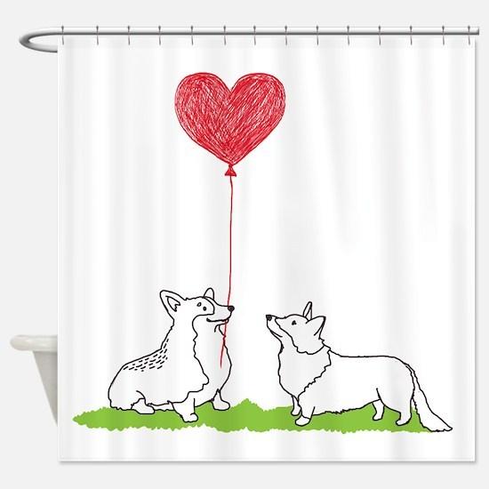 Corgi Valentine - Shower Curtain