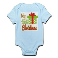 My First Christmas Green Gift Infant Bodysuit