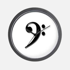 Bass Clef - Black with Shadow Wall Clock