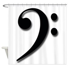 Bass Clef - Black with Shadow Shower Curtain