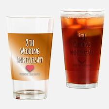 8th Wedding Anniversary Drinking Glass