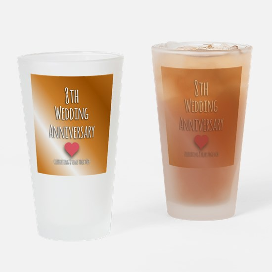 8th Wedding Anniversary Drinking Glass