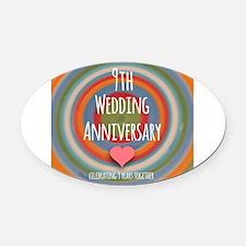 9th Wedding Anniversary Oval Car Magnet