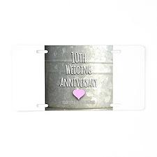 10th Wedding Anniversary Aluminum License Plate